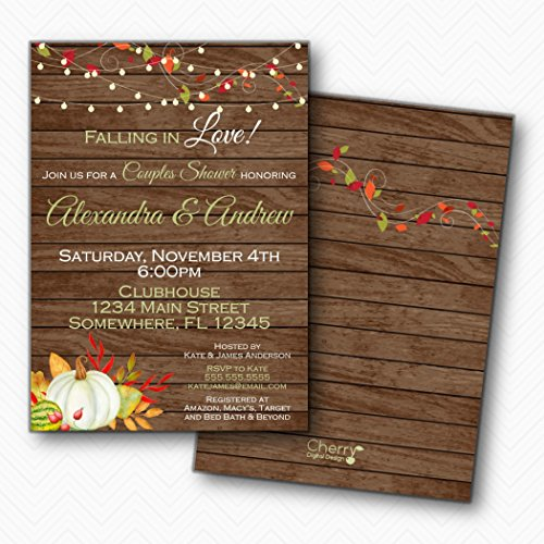Fall Wedding Invitation Leaves (Falling in Love White Pumpkin Fall Couples Wedding Shower Invitation | Envelopes Included)
