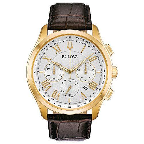 Bulova Mens Chronograph Quartz Watch with Leather Strap 97B169