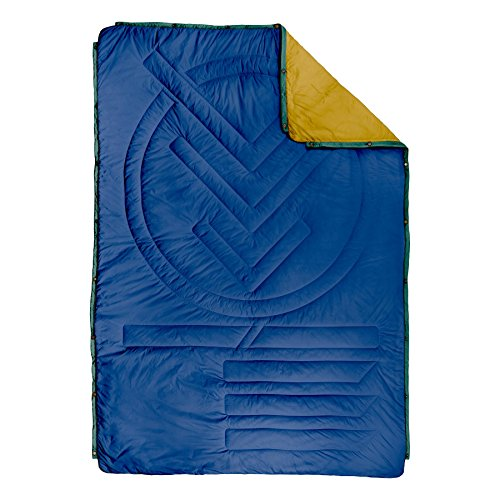 Voited Ripstop Outdoor Pillow Blanket - Versatile Insulated & Water-Resistant Blanket for Camping, Hiking, Picnics & The Beach (Navy/Harvest)