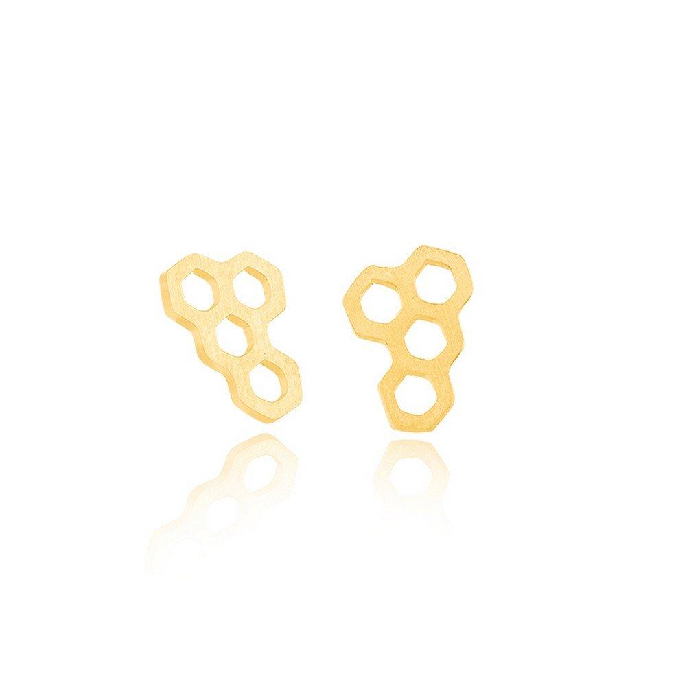 fonk_CA:: Unique Funky Hexagon Stud Earrings Minimalist Jewelry Simple Honeycomb Cute Gold Earrings For Gift fonk store_CA MB7VX0K22