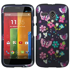 Rubberized Plastic Night Butterflies Hard Cover Snap On Case For Motorola Moto G (Accessorys4Less)