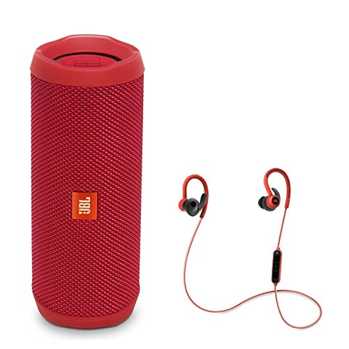 JBL Flip 4 Portable Waterproof Bluetooth Speaker with Reflect Contour Wireless Bluetooth In-Ear Headphones (Red)