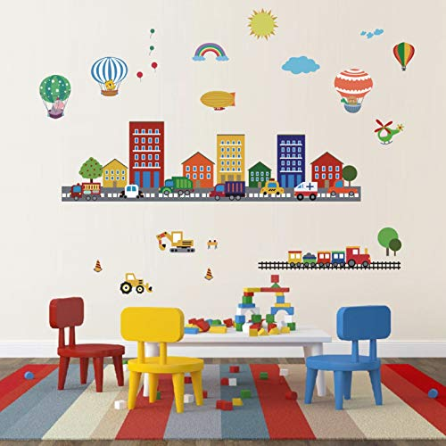 Construction Kids Wall Stickers Cars Transportation Wall Decals,Car Rainbow Wall Decals,Kids Rooms Hot Air Balloon Castle Decor Wall Decals