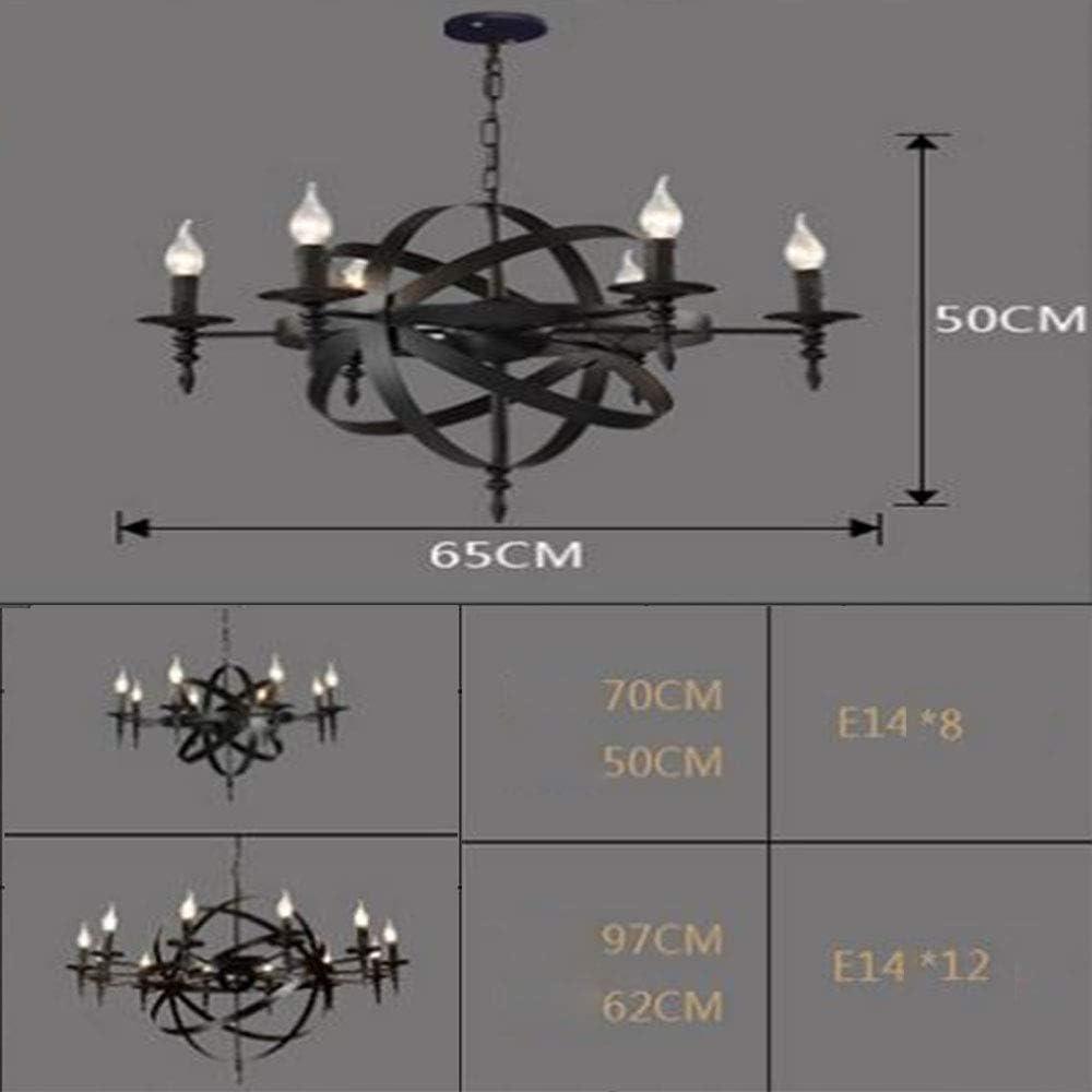 SANKE Globe Kerze Kronleuchter Licht ,6heads E14 LED-Schmiedeeisen Schwarz Retro Industrieh/öhenverstellbare Deckenleuchte Geeignet f/ür Theke Land Villa