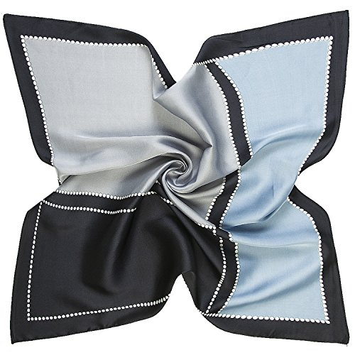 K-ELeven Silk Scarf Women's Square Satin Hair Scarf 23.6 x 23.6 inches SK072-D