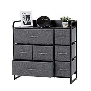 Kamiler 7-Drawer Dresser, 3-Tier Storage Organizer, Tower Unit for Bedroom/Hallway/Entryway/Closets – Sturdy Steel Frame, Wooden Top, Removable Fabric Bins