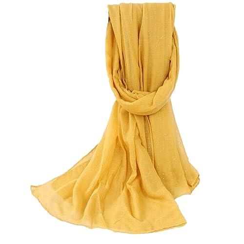 ZHOUBA - Bufanda - para mujer Amarillo amarillo Talla única