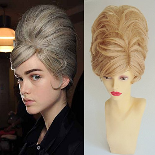 [Deluxe Short Blonde Mod 60's Beehive Bouffant Fashion Costume Wig] (60s Mod Girl Costumes)
