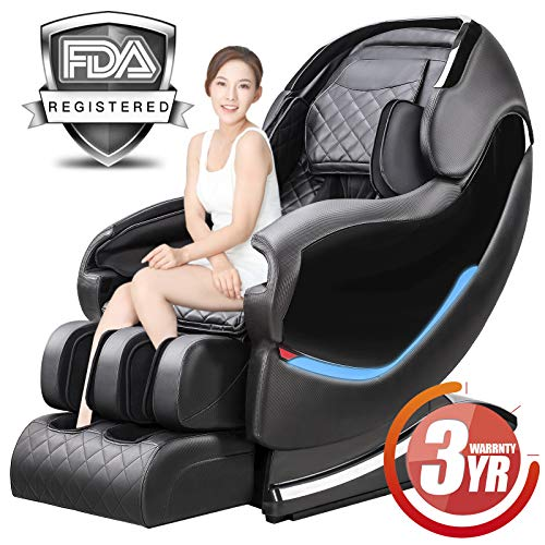 Massage Chair Recliner, Zero Gravity SL-Track Full Body Shiatsu Luxurious Electric Massage Chair with Stretched Tapping Mode Heating Back and Foot Massage Therapy (Black) … …