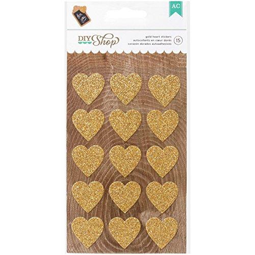American Crafts DIY Shop 2 Hearts Glitter Stickers, ()