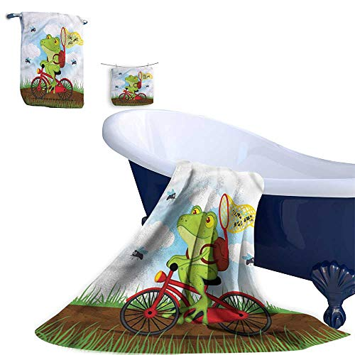 HoBeauty 3 Piece Bath Towel Set,Animal,Frog on a Bike Hunting Flies, Super Soft & Absorbent Fade Resistant Cotton ()