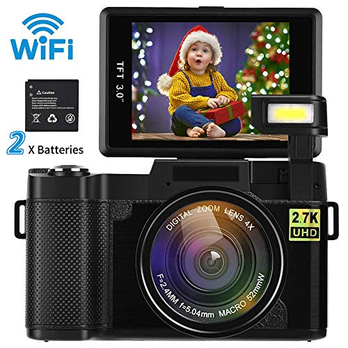 Digital Camera Camcorder WiFi Full HD 1080P Video Camera DIWUER 24.0MP 3.0 Inch LCD Mini Camcorders with Flash Light (Dual Batteries) (French Movie Priceless)