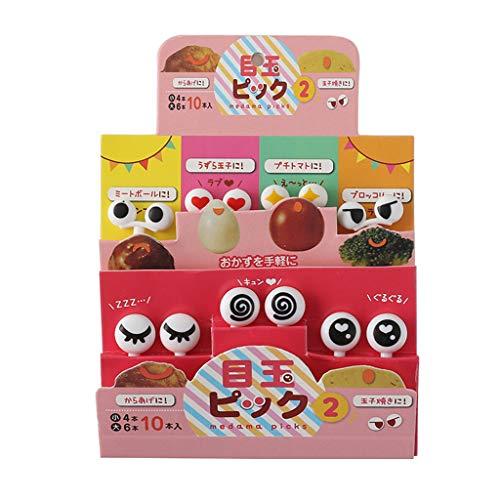 Kofun Fruit Sticks, 10 Pieces/Set Mini Skewers Cute Cartoon Eyes Kawaii Emoji Lunch Bento Box Food Fruit Picks Fork Sticks Buffet Sandwich Toppers Decoration