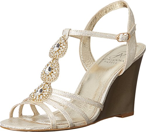Adrianna Papell Women's Kristen Wedge Sandal, Pearl, 6.5 M US - Ivory Dress Sandals