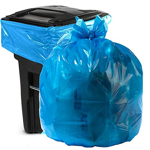 Aluf Plastics 55-60 Gallon Blue Trash Bags for Rubbermaid Brute - Pack of 100 - Garbage or Recycling Bags 58