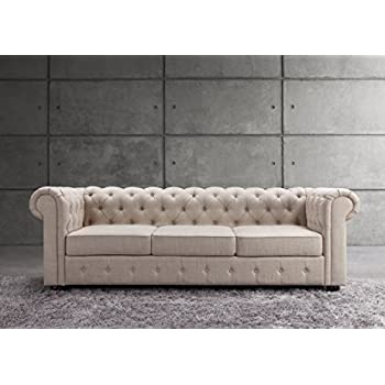 Millbury Home Garcia Collection Tufted Couch, Contemporary Sofa, Linen Upholstery, Beige