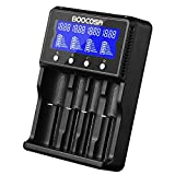 Boocosa Battery Charger, Smart Rechargeable Battery Charger with LCD Display - IMPROVED Bay Charger for AA AAA Ni-MH Ni-CD Li-ion IMR LiFePO4 18650 26650 22650 Rechargeable Batteries (4 slot)