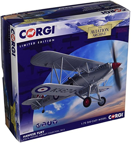 Historic Planes (Corgi Boys Hawker Fury K5674 Historic Aircraft Collection 2013 1:72 Aviation Archive Diecast Replica AA27301 Vehicle)