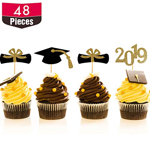 Hestya 48 Pieces Graduation Cap Cupcake Toppers Diploma Cake Table Centerpieces Sticks for Graduation Theme Party Favor Accessories (2019 Style -