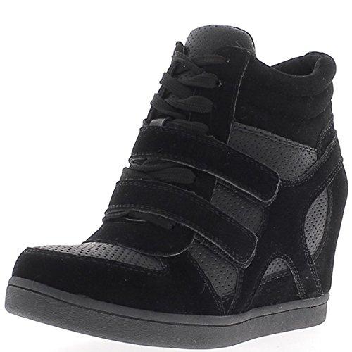 Nero aumentante sneakers con zeppa a tacco 7,5 cm