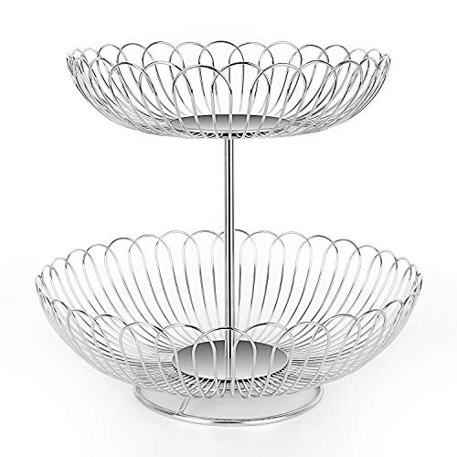 Stainless Steel 2 Tier Wire Fruit Basket Bowl for Kitchen Counter Stand with ()