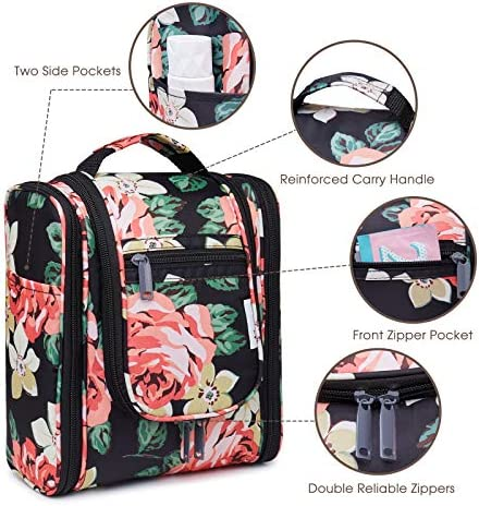 Hanging Travel Toiletry Bag Kit Cosmetic Makeup Organizer for Women and Men (Black Peony-1)