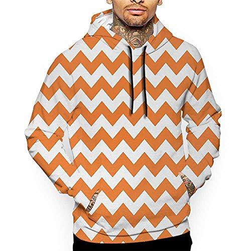 Hoodies SweatshirtAutumn Winter Chevron,Halloween Pumpkin Color Chevron Traditional Holidays Autumn Season Celebrate,Orange White Sweatshirts for Women]()