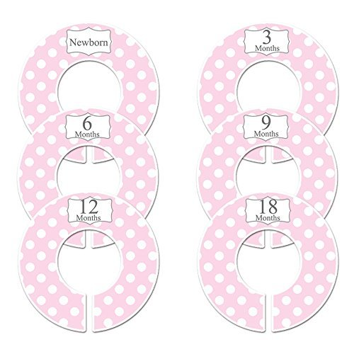 (Closet Doodles C16 Pink Polka Dots Baby Clothing Dividers Girl Set of 6 Fits 1.25inch Rod)