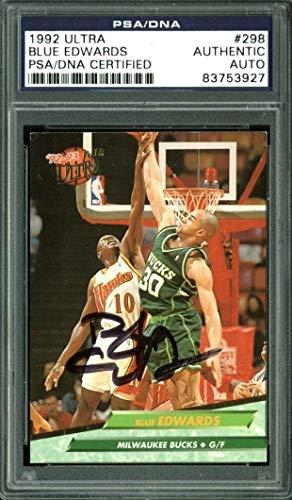 Bucks Blue Edwards Authentic Autographed Signed Card 1992 Ultra #298 PSA/DNA Slabbed -