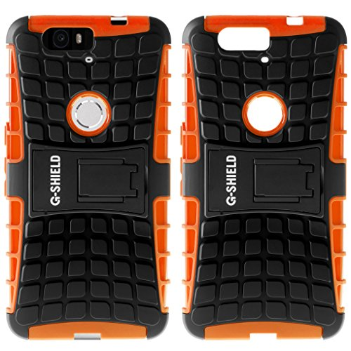 Funda Nexus 6P, G-Shield Carcasa Extremo Protección [Con Soporte] [Anti-Arañazos] [Anti-Choque] [Muy Resistente] Híbrida a Prueba de Golpes Case Cover Para Huawei Google Nexus 6P - Naranja Naranja