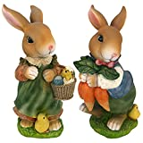 Design Toscano Bunny Hop Lane Mother and Father Rabbit Statues (Set of 2) For Sale