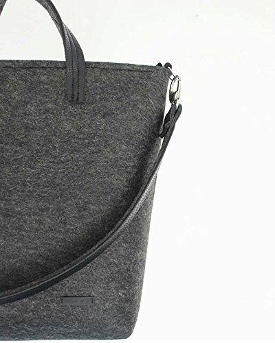 Leggera Pelle Bag Tasche Fatto Manico Donna Si Perfetta Interne In Grigio La Zip Mano Sentiva Tote Borsa A Scuro Elegante Della Confortevole UgpHUx