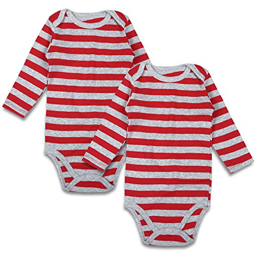 (Baby Bodysuit Pack 2 Long Sleeve Onesie for Newborn Boys Girls 0-24 Months (6-9 Months, Gray/Red))