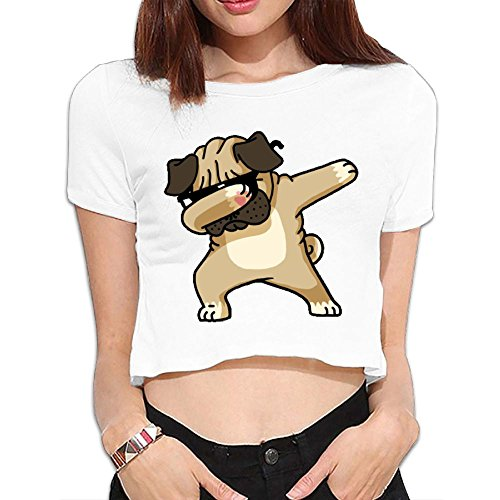 Navel T-Shirt Top Crop Top Shy And Blindfolded Dog Womens' Graphic