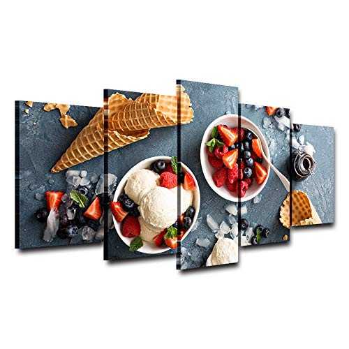 (WSJXY 5 Canvas Paintings Wall Art Pictures Home Decor HD Print 5 Pieces Strawberry Ice Cream Painting Modular Cold Snacks Poster Kitchen Canvas)