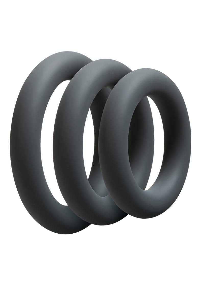 Doc Johnson OptiMALE - Thick 3 C-Ring Set - Stretchy Silicone - Slate by Doc Johnson