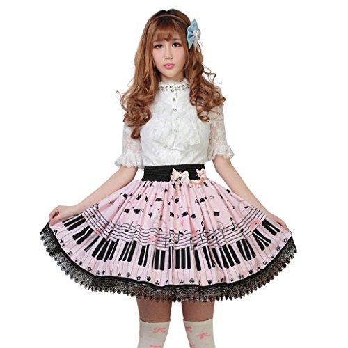 Hugme Pink Polyester Lace Piano Keybord Printed Lolita Skirt Lolita Skirt