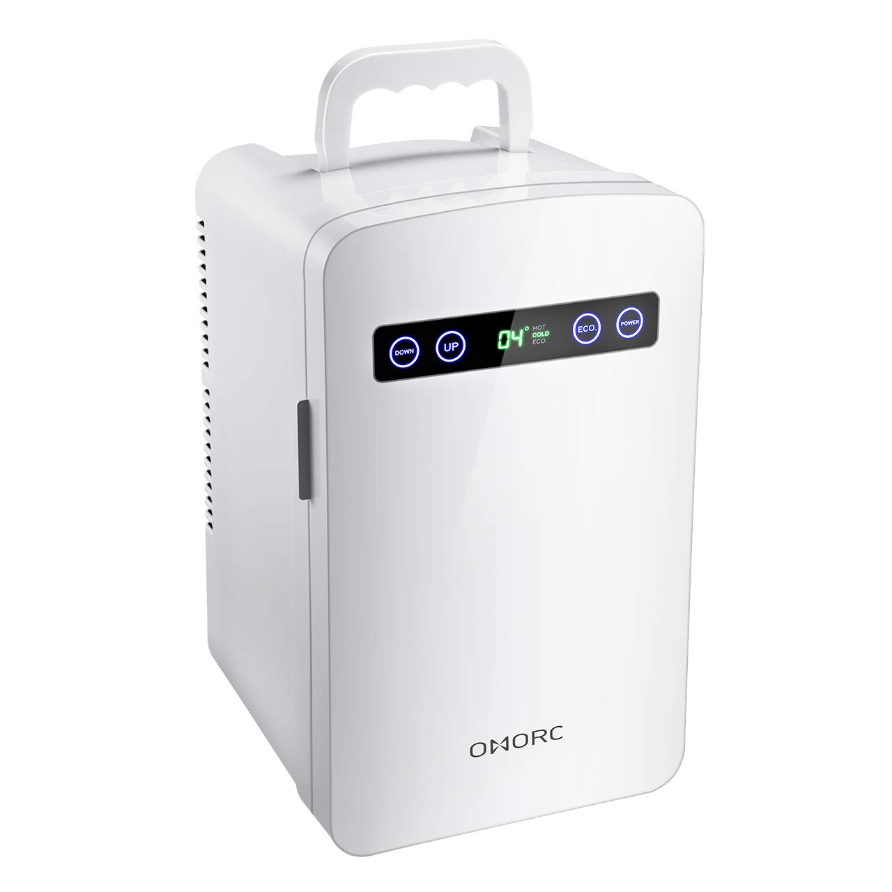 OMORC Tiny Fridge, 10L Mini Fridge Cooler Warmer 10L Car Refrigerator with LED Display Dual-Core System ECO for Saving Energy and Super Quiet, Personal Office Fridge- AC DC 1-White