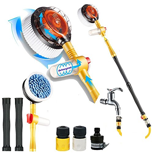 Sale-Premium Water Powered Rotary Brush for Cars, Trucks, Rv's, Motorcycles, Rims, Outdoor Furniture, Dirty Boots and More. Spin Away Dirt and Grime with Our Spinning Brush (car spin brush) ()