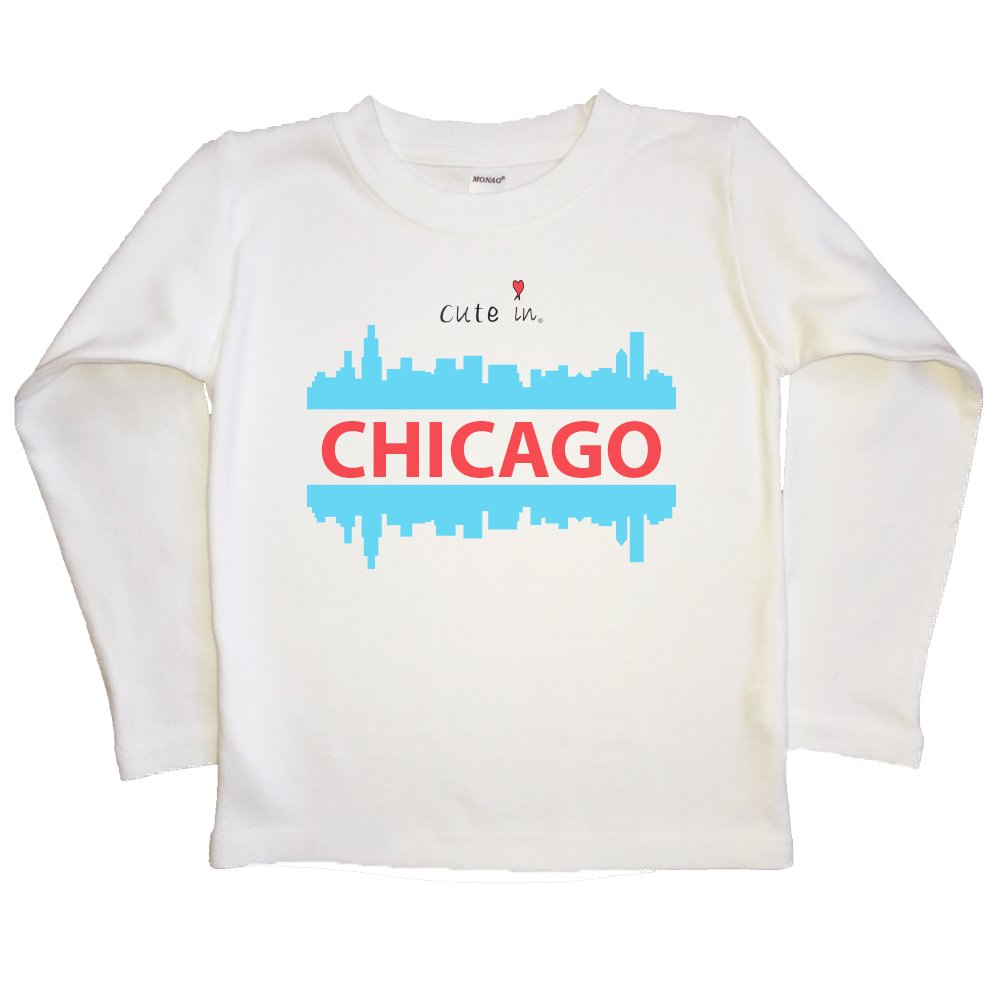 Cute in Chicago Kids Long Sleeve T-shirt 4Y, Blue Toddler T-Shirt
