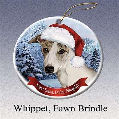 Holiday Pet Gifts Whippet (Tan) Santa Hat Dog Porcelain Christmas Tree Ornament