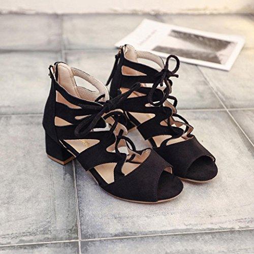 Mujer de Y Negro Cómodo Verano Tobillera Planas Cordones Zapatillas Las Sandalias Zapatos Cuero Elegante Bohemia Playa Sandalias de y De Chanclas Bailarinas ASHOP Moda fU5w1qR