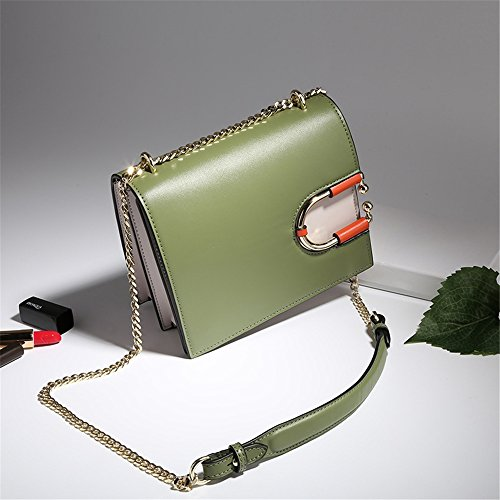 Shoulder Leather Simple Summer Winter Messenger Tote Strap Yamyannie Bag Green Chain Retro Lady Buckle Bag 8Tzq6O4a