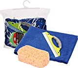 3 PK OF MICROFIBER CHENILLE DETAILING SPONGE – MICROFIBER TERRY CLOTH – WINDOW SQUEEGEE – FOR CAR WASH, CAR INTERIOR CLEANING, HOME, OFFICE & EQUIPMENT CLEANING.