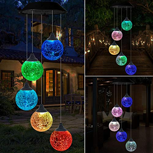 Eutreec Solar Globe Wind Chime Outdoor, Cracked Glass 5 Balls Color Changing Wind Mobile Waterproof Outdoor Decorative Romantic Wind Bell Light Hanging Lamp for Patio Yard Garden -