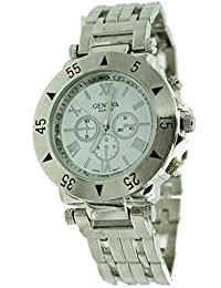Men's Over sized Fashion Stainless Metal Watch-Silver Tone