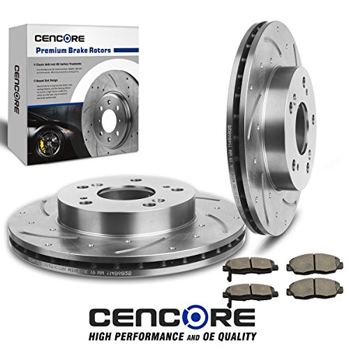 CENCORE (Front) Combo Brake Kit for Honda Civic Coupe Sedan 2006-2011 with 2 Drilled Slotted Disc Brake Rotors & 4 pcs Brake Ceramic Pads
