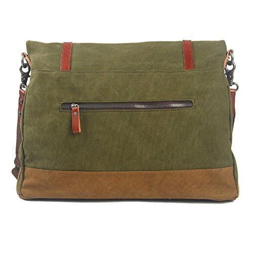 Waterproof Canvas Handle Army Portable Retro Schoudertas Green Simple Messenger Kleur Rits Maybesky Bag OTIxH