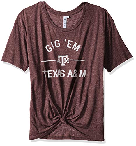 Knot Womens (chicka-d NCAA Officially Licensed Texas A&M University Ladies Boyfriend Knot Tee/T-Shirt/Short Sleeve - Texas A&M Aggies Women's Apparel)