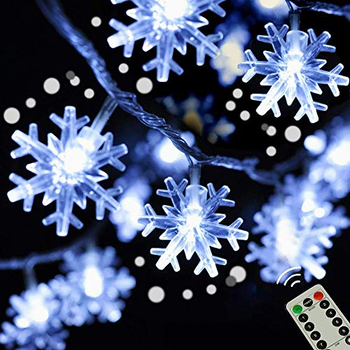50LED Snowflake String Lights, Winter Holiday lights with Remote, 8 Modes Cool White Changing Waterproof Battery Powered Fairy Lights for Wedding, Birthday, Party, New year, Winter Holiday Decor
